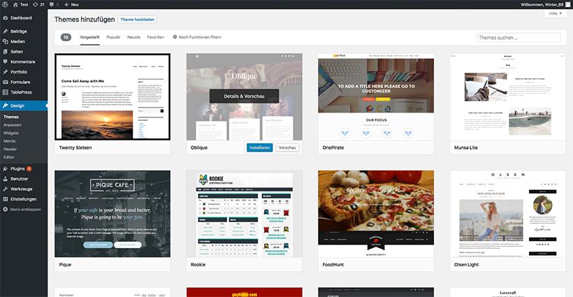 Das WordPress Themes Verzeichnis im Backend