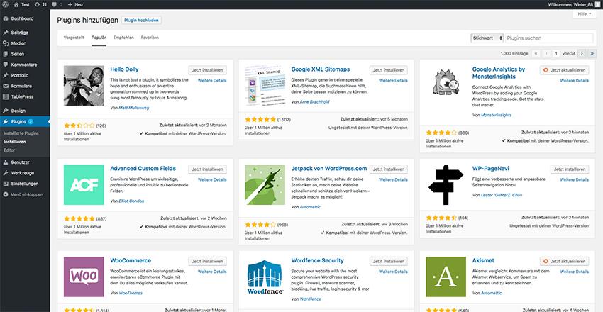 Was ist WordPress - Plugin Verzeichnis